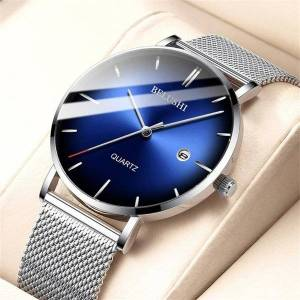 DHgate wristwatches simple fashion mens watches luxury slim steel mesh quartz watch men business waterproof analog wrist male