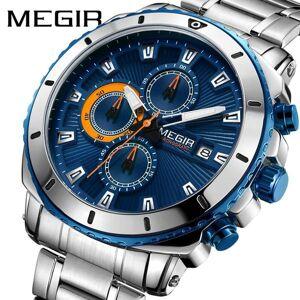 DHgate wristwatches megir men's blue dial chronograph quartz watch fashion stainless steel analog luminous waterproof