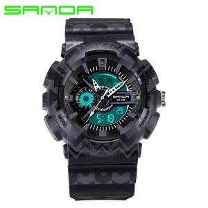 DHgate sanda men sports watches fashion male casual digital analog display camouflage rubber band montre homme wristwatches