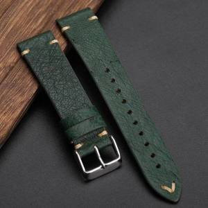 DHgate watch bands green ostrich leather watchband 18 20 22mm ultra-thin strap handmade, south african material