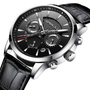 DHgate wristwatches crrju fashion men watches analog quartz 30m waterproof chronograph sport date leather band montre homme