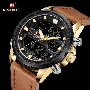 DHgate wristwatches naviforce stylish sports quartz watch men dual time waterproof male clock fashion casual analog digital watches leather strap
