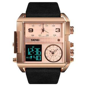 DHgate wristwatches golden rectangle mens watches leather led relogio masculino alarm analog digital male wristwatch with date 202