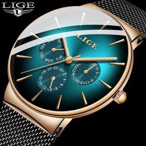 DHgate wristwatches 2021 ultra-thin lige green mens watches casual mesh belt stainless steel quartz watch for men sport wristwatch