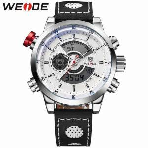 DHgate wristwatches weide 2021 men watch analog relogio casual digital display sports waterproof genuine leather strap alarm clock watches