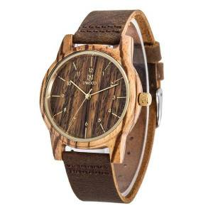 DHgate wristwatches leeev wooden watches for men vintage leather watch band casual quartz