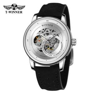 DHgate wristwatches t-winner men's stylish mechanical skeleton automatic fashion analog display trendy wristwatch with leather strap wrg8190m3