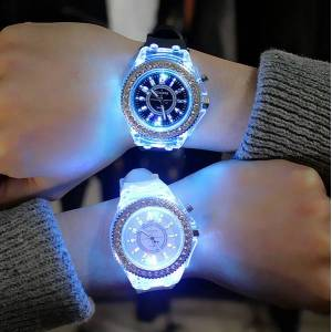DHgate silicone led luminous fashion ladies outdoor watch women's men colorful sports wristwatches men watch clocks relogios masculino in