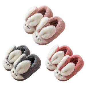 DHgate infant kids winter fuzzy warm home slippers cartoon ears non-slip shoes c90e