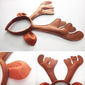 DHgate 100pcs/lot sweet brown deer antler headwear with ear santa reindeer style hairband christmas party props hx414