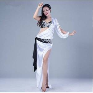 DHgate korea design 5pcs women belly dance costume performance dress bra robe hair band waist scarf underwear handmade bling bling