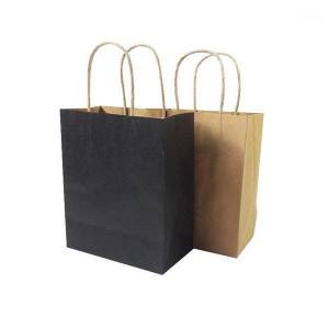 DHgate 10 pcs/lot natural kraft paper bag with handle environmental protection bag wedding party favor paper gift bags 15*18*8cm1