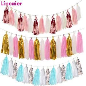 DHgate 15pcs rose gold mixed paper tassel 1st happy birthday wedding banner decorations first birthday boy girl party supplies one year