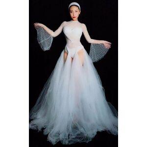 DHgate women stage see through mesh crystals dress white perspective rhinestones long dress nightclub female singer dances costume