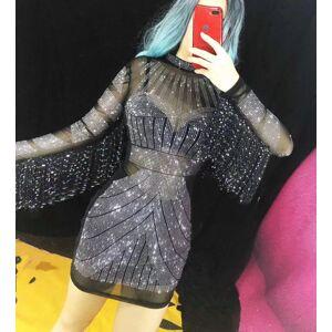 DHgate new black mesh see through rhinestones dress female performance fringe sleeves short dresses women party nightclub dance costume