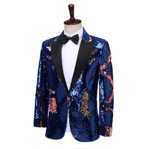 DHgate new men shiny royal blue sequins blazers luxury stage slim suits fashion male wedding groom dress nightclub singer prom 2-pieces