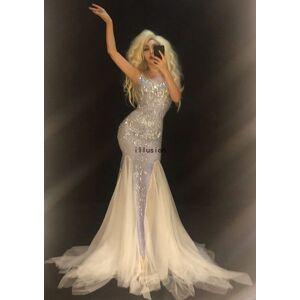DHgate women voile tail dress sparkling crystals rhinestones nightclub birthday party elegant long dress dancer singer stage wear