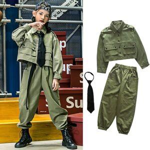 DHgate kids hip hop street dance costume armygreen suit overalls student uniform girls jazz performance clothes stage rave wear vdb2535