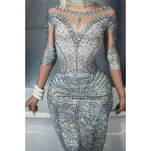 DHgate sparkly rhinestones 3d printed long dress spandex stretch women birthday celebrate prom party dresses night singer stage costume