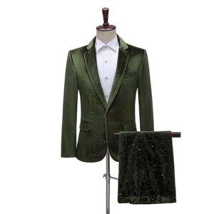 DHgate fashion velvet bronzing mens suit black/royal blue/army blue slim fit tuxedo blazer+pants 2 piece suits wedding banquet outfits