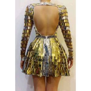 DHgate shining gold silver sequins rhinestones backless dress dj singer dancer stage wear dance team mirrors costume party show clothes