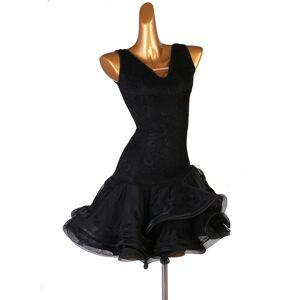 DHgate professional latin dance competition costume black art test dress female new rumba cha cha dance wear big swing skirt 1440