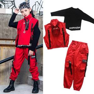 DHgate kids trend hiphop clothing for boys girls jazz performance costume red vest trousers modern ballroom dance clothes rave vdb2525