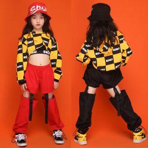 DHgate kids hip hop clothing girls jazz costume yellow plaid hoodies black/red pants practice clothes modern ballroom dance wear db2242