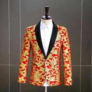 DHgate new embroidery sequin velvet blazer stage performance high grade suit jacket singer host dance performance studio men costume