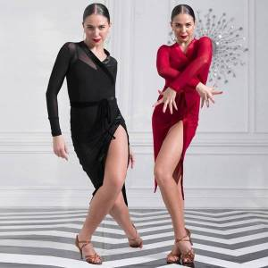 DHgate womens latin dance dress practice clothes black/red long sleeves competition dress prom party rumba dress vdb3250