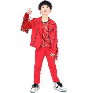 DHgate 2021 hip hop costumes red fringed jacket sequined vest pants boys jazz performance clothing children street dance outfit