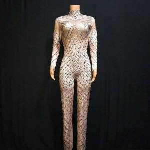 DHgate fashion sparkly rhinestones loose legs jumpsuit women birthday prom party luxurious outfit stage bodysuit singer costume