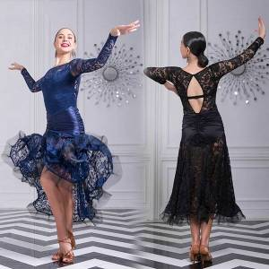 DHgate modern ballroom dance clothes women backless lace dress tango dance wear prom waltz performance costume long dress vdb3247