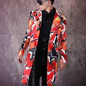 DHgate tide male singer dancer fashion colored graffiti blazer geometric pattern long coat streetwear hip hop suit jacket stage costume