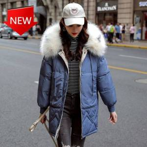 DHgate cotton wadded green artificial skin with female thick winter jacket parka down