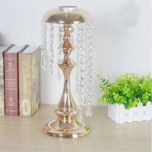 DHgate design crystal candle holder candlestick with diamond hangging acrylic party decoration