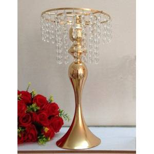 DHgate gold crystal metal pot for wedding and el decoration party