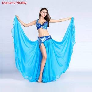 DHgate for women belly dance costume bra belt skirt set of 3 pieces performance show costume white sky blue ing