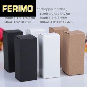 DHgate 100pcs/lot-10ml/15ml/20ml/30ml/50ml/100ml white black kraft paper box essence oil bottle cosmetics party gift box valve tubes