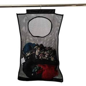 DHgate portable over door laundry hamper durable mesh basket space saving folding hanging dirty clothes bathroom home storage bag