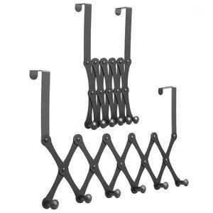 DHgate over the door hook organizer rack, retractable metal coat hanger door, space saving, durable and rust resistant 2 packs1