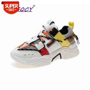 DHgate lace-up chunky platform sneakers women spring autumn new casual shoes woman vulcanize mixed colors feminino #1f4m