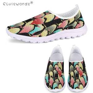 DHgate elviswords leisure woman summer mesh flats shoes cute penguin parrot printing girls slip on light sneakers zapatillas de mujer