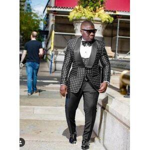 DHgate fashion one button black dot wedding groom tuxedos shawl lapel groomsmen mens dinner prom suits (jacket+pants+vest+tie) no:1491