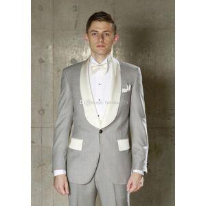 DHgate one button light grey wedding groom tuxedos shawl lapel groomsmen mens dinner blazer suits (jacket+pants+tie) no:1833