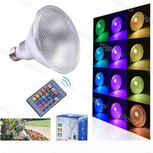 DHgate par38 led bulb e27 cob waterproof rgb 24key remote control magic light bulb lamp 20w rgb led light spotlight indoor outdoor decor eub
