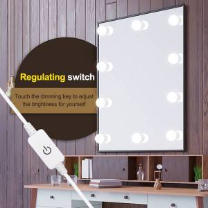 DHgate led 12v bulb hollywood vanity lights makeup mirror light stepless dimmable wall lamp 6/10/14 bulbs kit for dressing table delivery