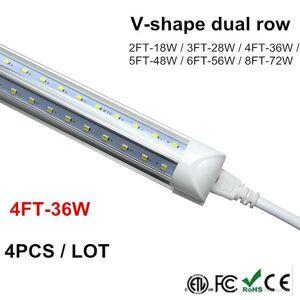 DHgate bulbs 1.2m t8 tube led v shape integrate 4ft 5ft 6ft 8ft double side power factory price cooler door lighting smd2835 100lm/w