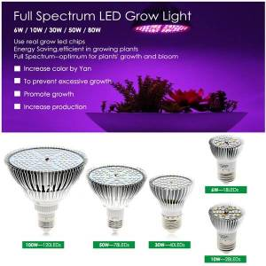 DHgate full spectrum e27 led growing bulb for indoor hydroponics flowers plants led growth lamp 30w/50w/80w grow light ms009