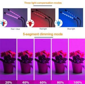 DHgate have timed cycle function led grow lights full spectrum stepless dimming color plant growing lamp clip type plant grow lamp ms005